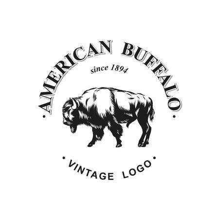 American buffalo logo inked vector