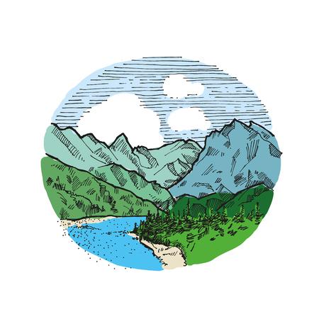 Mountains vintage illustration hand drawn Ilustração