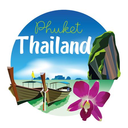 プーケット タイ ビーチ風景図・ オーキッド ブローチ付き EPS10