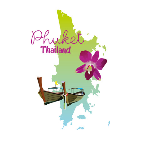 Carte de l'île de Phuket en Thaïlande Banque d'images - 83475264