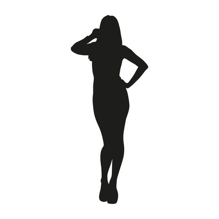 Sexy woman silhouette isolated vector black on white