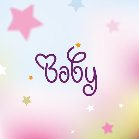 Baby logo lettering sign in a colorful background design with stars