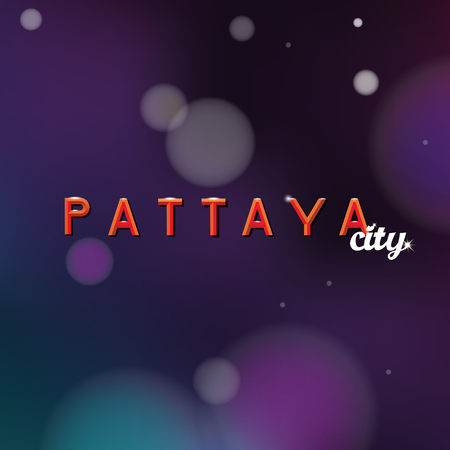 Pattaya city text in pen lettering design logo, a night life concept dark background