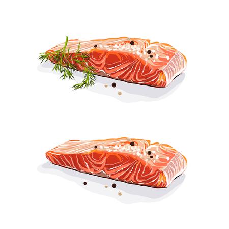 Viande de saumon. Darnes de saumon à l'aneth isolé sur fond blanc. Illustration vectorielle Banque d'images - 93892730