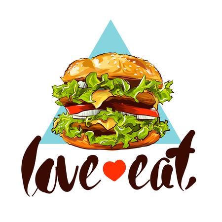 Burger hand drawn colour illustration with slogan