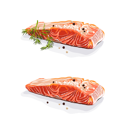 Salmon meat. Salmon steaks with dill isolated on white background. Vector illustration. Иллюстрация