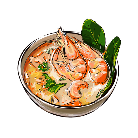 Tom yam soup Thai food with shrimps vector illustration