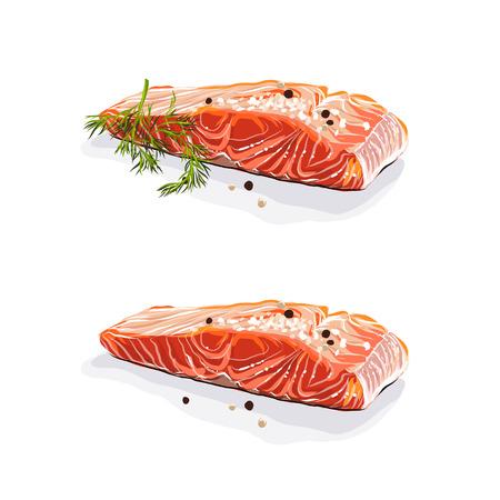 Saumon saumon . steaks de saumon avec aneth isolé sur fond blanc. illustration vectorielle Banque d'images - 94210377