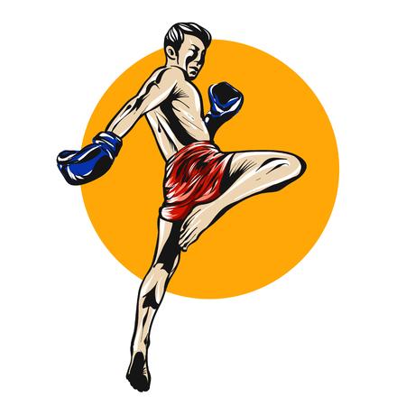Muai thai boxer illustration.
