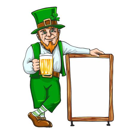 Leprechaun avec une tasse si la bière près d'un signe EPS 10 Banque d'images - 94829907