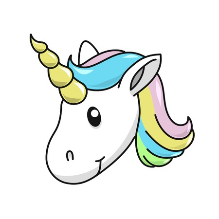 Unicorn head vector illustration on white background. Cute magical cartoon.