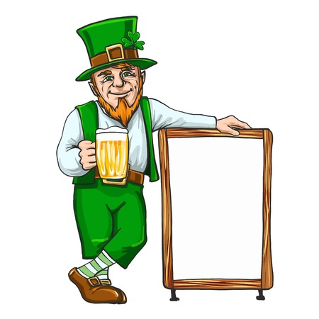 Leprechaun with cup if beer near a sign EPS 10 Фото со стока