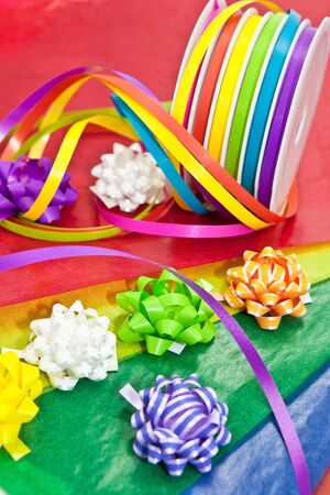 Colorful ribbons for wrapping gifts