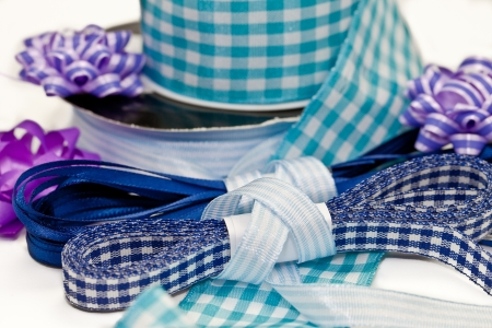 Colorful blue ribbons and bows photo