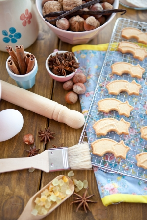 Christmas baking and star-shaped cookies Stock Photo - 15610977