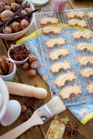 Christmas baking and star-shaped cookies Stock Photo - 15610975