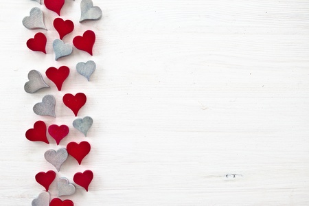 Decorative background with wooden hearts