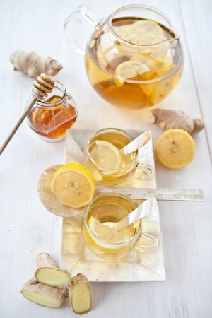 Ginger lemon tea and honey Stock Photo - 16553048