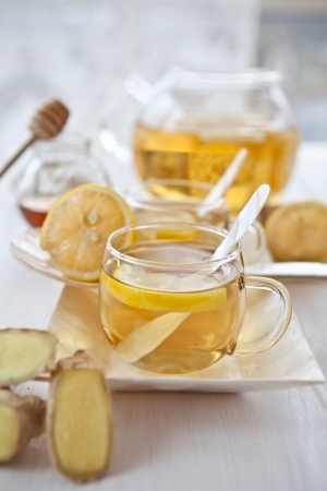 Ginger lemon tea and honey Stock Photo - 16553050