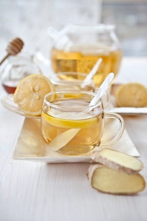 Ginger lemon tea and honey Stock Photo - 16553049