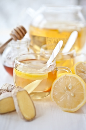 Ginger lemon tea and honey photo