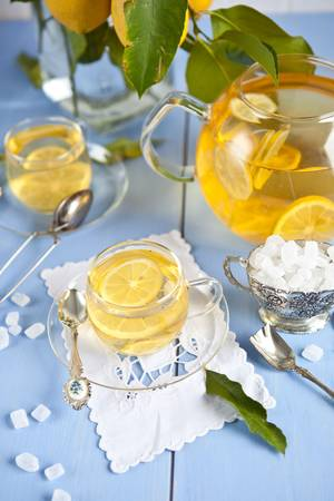 Hot tea with lemons Stock Photo - 17640547