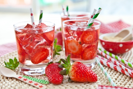 red straw: Homemade strawberry lemonade