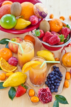 Juice from various fresh fruits Stock Photo - 18993226