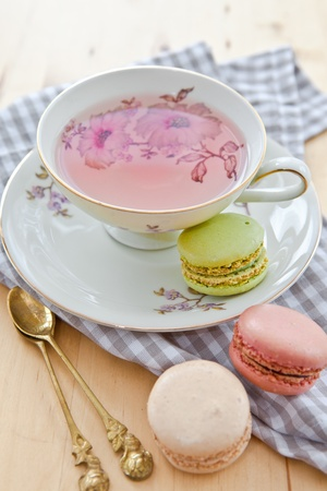 Fruit tea and macaroons photo