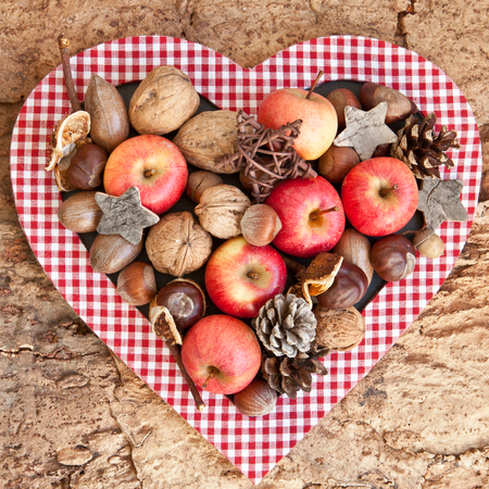 Rustic wooden background with apples and various nuts