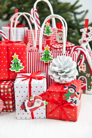 LIttle colorful gifts and decorations for christmas time photo