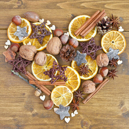 Rustic with spices and nuts for christmas photo