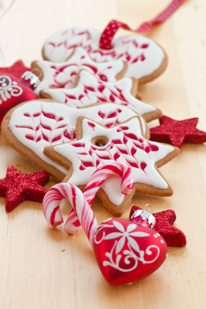 christmas time: Colorful cookies and ornaments for christmas time