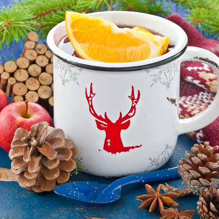 Hot punch with fresh oranges for christmas Stock Photo