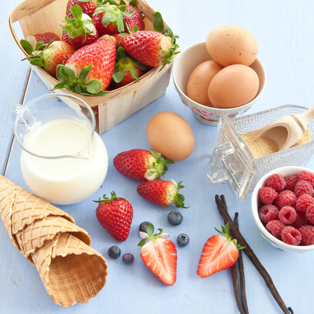 preperation: Ingredients for preparing ice cream with fresh fruits