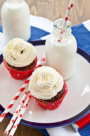 Little chocolates cupcake with vanilla cream cheese frosting photo