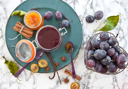 spreads: Variety of homemade plum jams with winterly spices