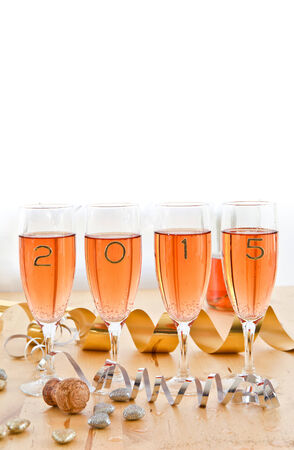 Rose Champagne voor New Year's Eve 2015 Stockfoto