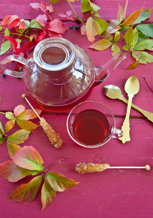 Hot tea in glass pot on rustic red wood with colorful leaves photo
