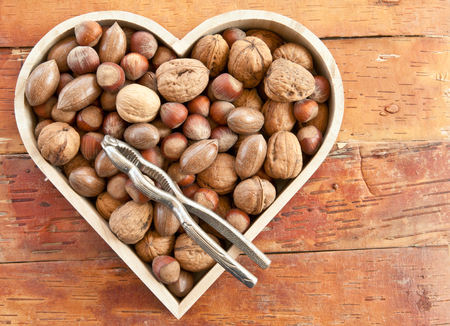 Varitey of nuts like walnuts, pecans and hazelnuts photo
