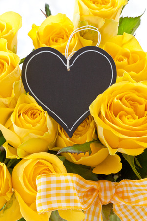 Bouquet of fresh, fully blossomed yellow roses