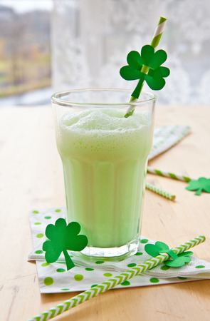 Green milkshake for celebrating St Patricks Day