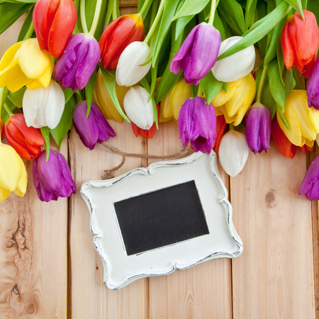 Fresh colorful tulips on rustic wooden background photo