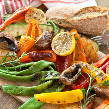 Colorful grilled summer vegetables for a vegan  vegetarian bbq