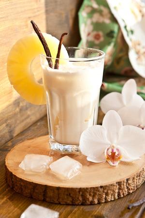 pina: Pina Colada with pinapple and vanilla beans Stock Photo