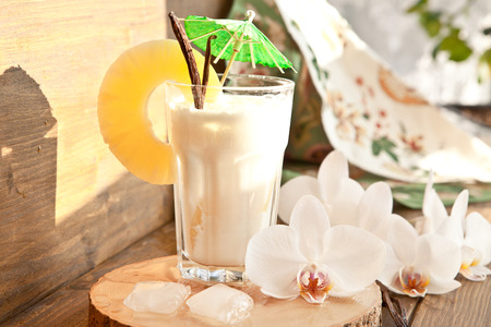 pina colada: Pina Colada with pinapple and vanilla beans Stock Photo