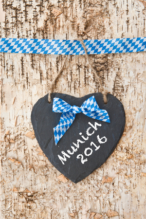 beerfest: Rustic background with bavarian white and blue ribbon