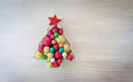 xmas background: Christmas background with xmas ornaments and baubles Stock Photo