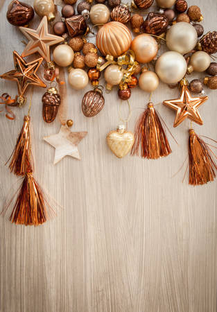 tassles: Christmas tree ornaments in bronze and golden tones Stock Photo