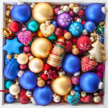 merry time: Colorful christmas baubles for a christmas background